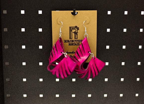 Hot Pink, Magenta Leather Earrings | Statement Boho Earrings