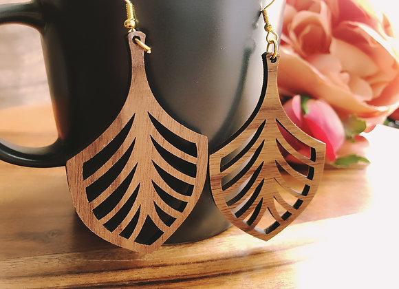 Handmade Wooden Earrings, Ethnic Art Deco Earrings