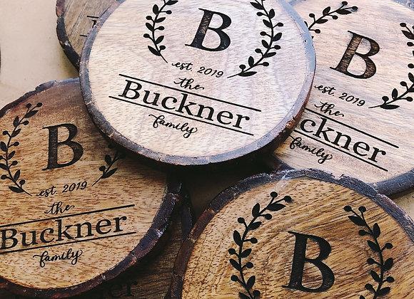 Personalized Monogram Engraved Wood Slice  Coasters Set of 4