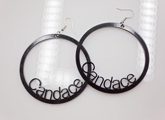 Large acrylic name hoops