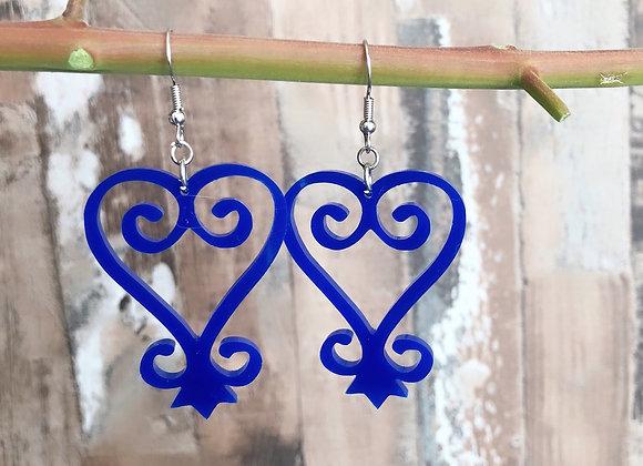 Sankofa Blue Acrylic Earrings, Afrocentric Statement Earrings