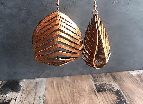 3D Leather Earrings, Large Earrings | Statement Boho Earrings