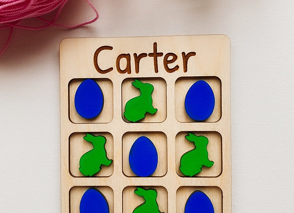 Tic Tac Toe Easter Basket Stuffer, DIY Natural Wood Board Game,Personalized Art