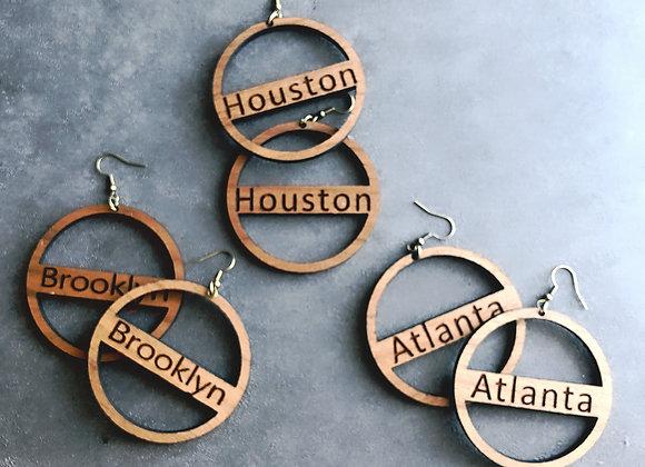 City Girls Wooden Hoop Earrings