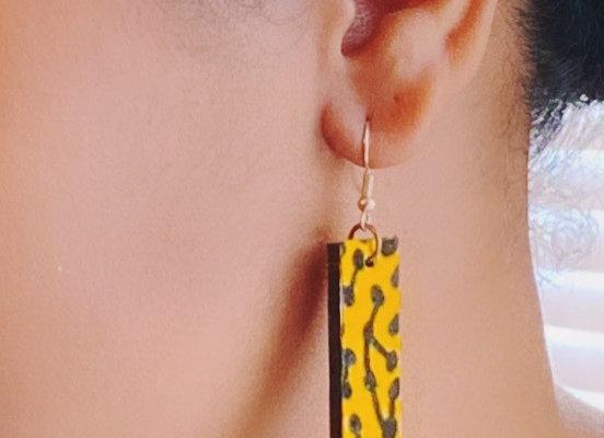 Rectangle Kente Cloth African Fabric Earrings