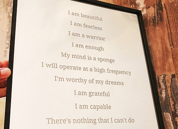 Engraved Affirmations Mirror in Black Frame 12x12
