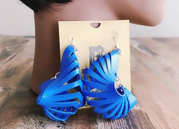 Blue Leather Earrings   Statement Boho Earrings