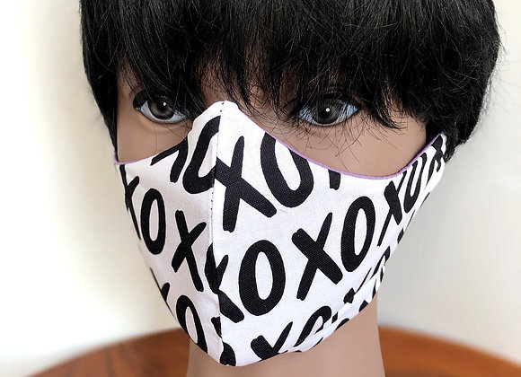 Face Mask with Filter Pocket made in USA, XOXO Face Mask