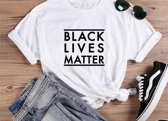 Black Lives Matter Printed Tee Shirt Femme O-Neck Short Sleeve Cotton
