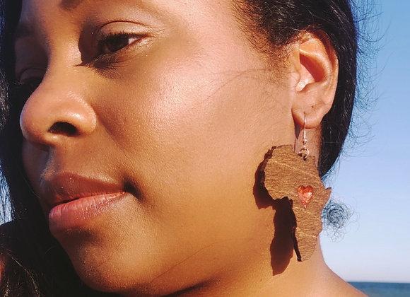 Africa Wooden Earrings, Ethnic Art Deco Earrings