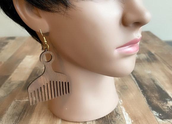 Wood Afro Pick Comb Earrings, Brown Walnut Wood Earrings, Ethnic Natural Hair Ea