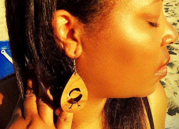 Handmade Sankofa Wooden Earrings, Brown Sankofa Earrings