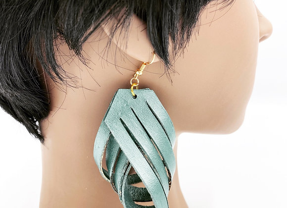 Leather Green Toned Large Earrings, Boho Statement Earrings made of Leather,Twis