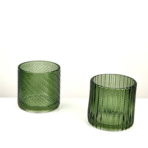GREEN GLASS T-LIGHT HOLDERS