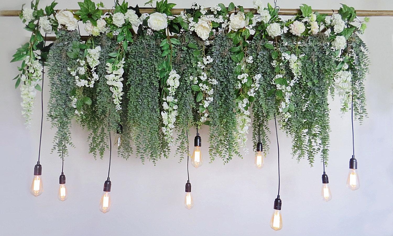 Eucalyptus Wisteria Hanging Ladder Light Magnolia