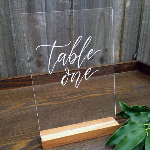 TABLE NUMBERS PERSPEX