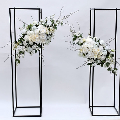 TALL FRAMES WITH PEONY ROSE FLOWER ARRANGEMENTS