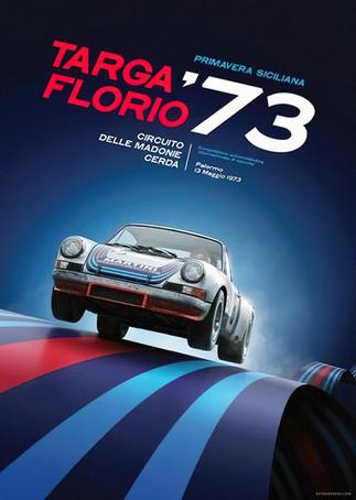 1973 Targa Florio race poster featuring Porsche