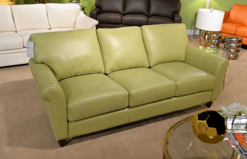 Cameo Sofa in Lime Green Leather