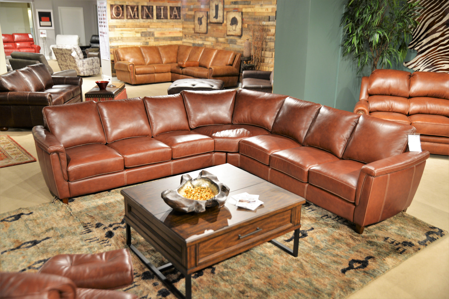 Ellis Sectional in Pecan Leather