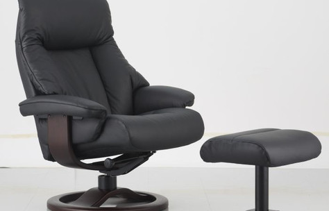 Fjords Recliner in Black Leather