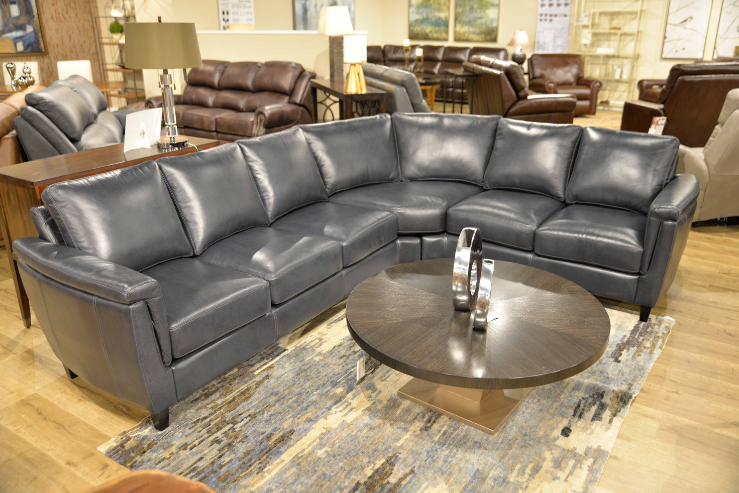 Ellis Sectional in Grey Leather