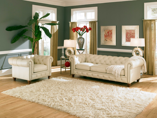 Remington Chesterfield in White Leather