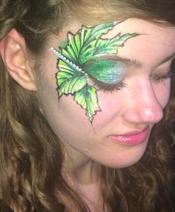 Green Leaves Face Art