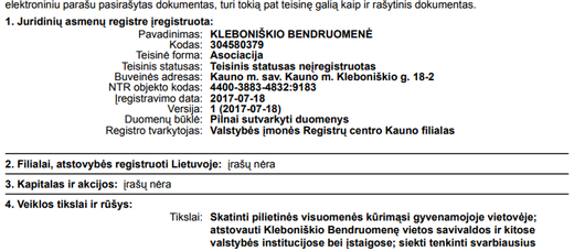 """Asociacija """"Kleboniškio bendruomenė"""" įregistruota!"""