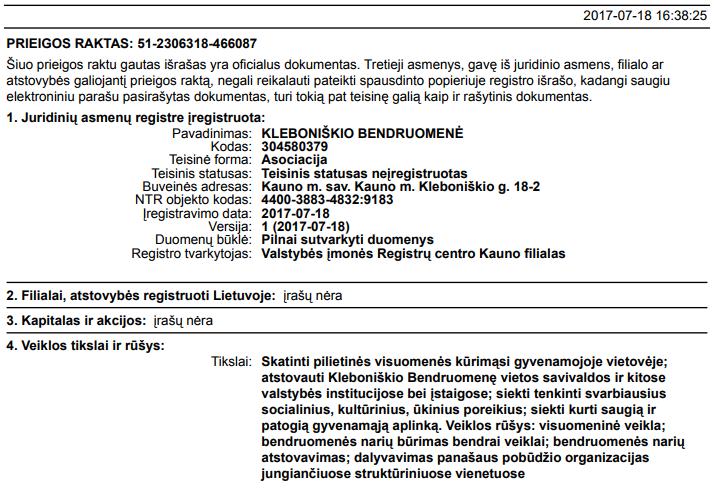 Registracijos dokumentas