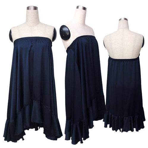 שמלת סטרפלס / חצאית שיפון מולטי כחול נייבי