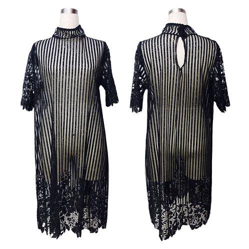 שמלת מידי מנצנצת שחורה שקופה