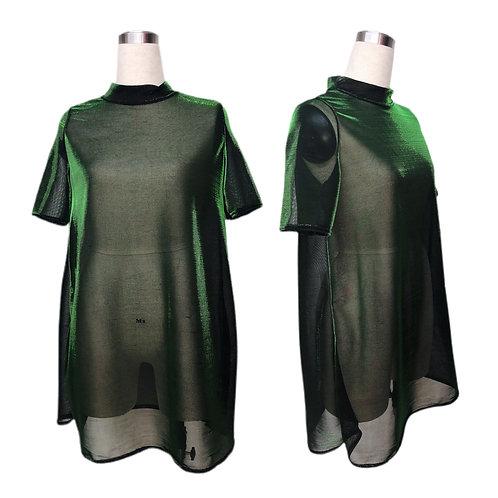 שמלה בגזרת A מבריקה בירוק