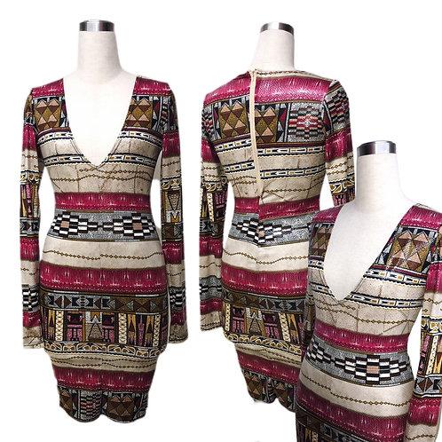 שמלת מידי- מיני מודפסת
