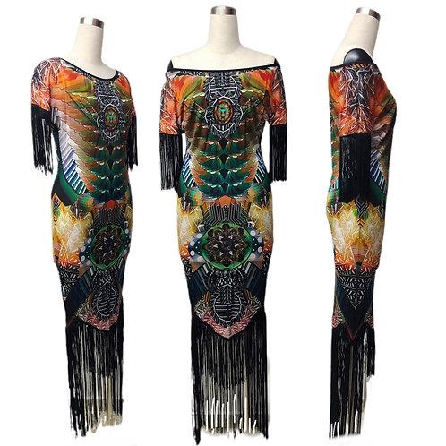 שמלה ארוכה עם פרנזים בהדפס דיגיטלי