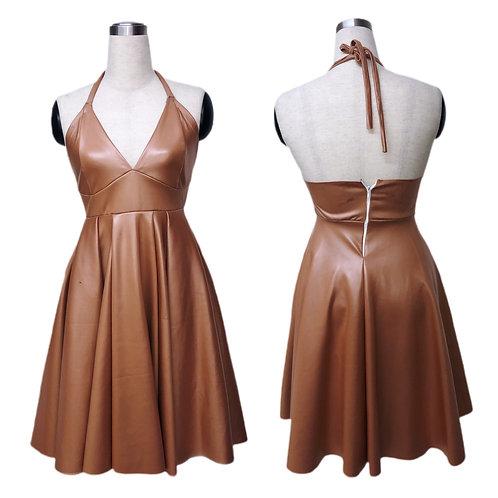 שמלת מעור בצבע פודרה כהה