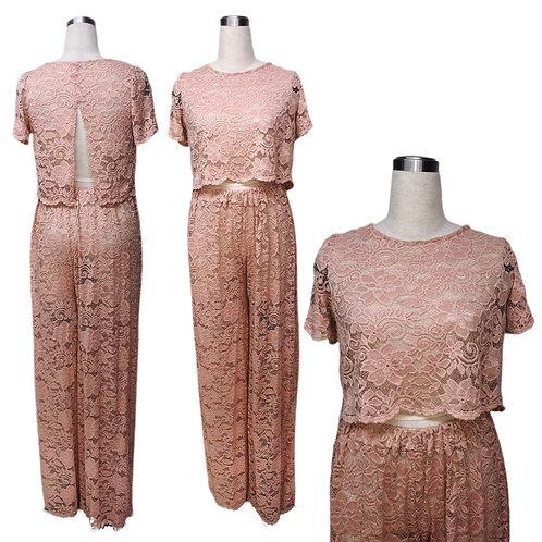 חליפה מבד תחרה ורוד עתיק- אפרסק