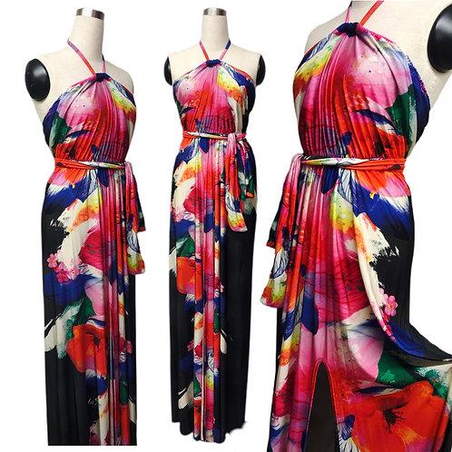 שמלת קולר מקסי בהדפס תוכי צבעוני