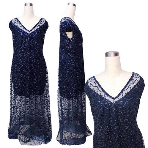 שמלה כחולה כהה נוצצת