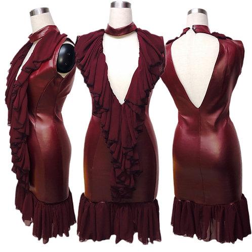 שמלת עור בורדו בשילוב שיפון