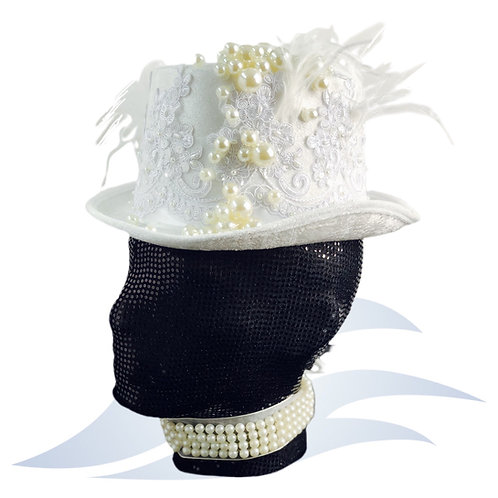 White Pearl Hat + pearl necklace