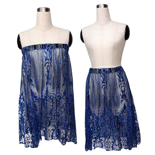 חצאית/ סטרפלס כחול זהב נוצץ