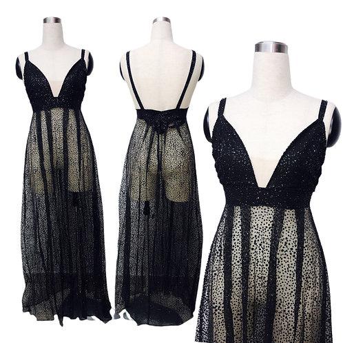שמלת ערב נוצצת שחורה