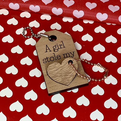 Valentine's Day - A girl Stole my Heart Keychain