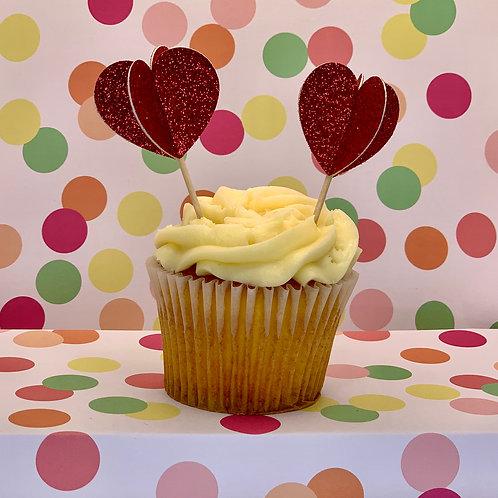 Heart 3D Glitter - Cupcake Topper
