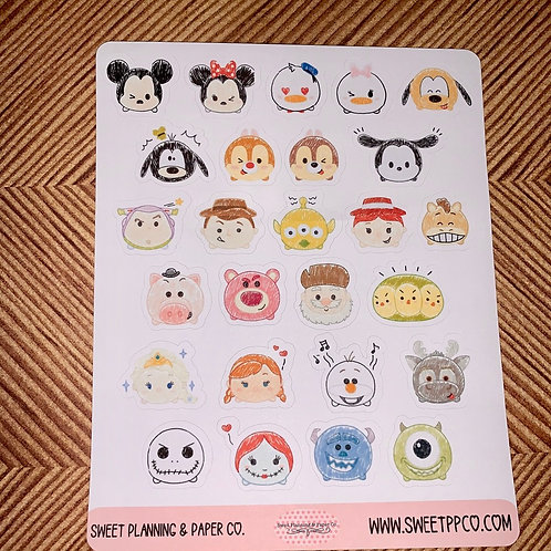 Tsum Tsum Planner Sticker, Calendar Sticker, Decorative Sticker