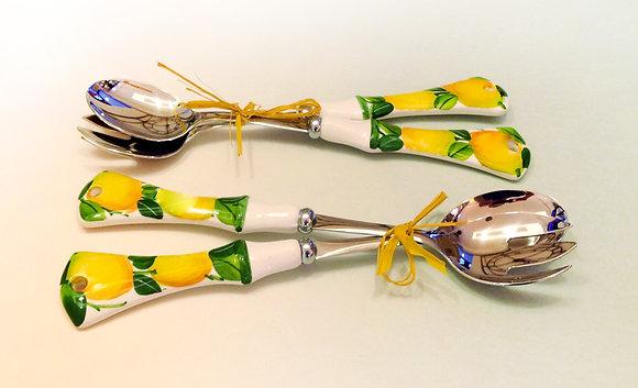 Coppia cucchiai ceramica dec. limone