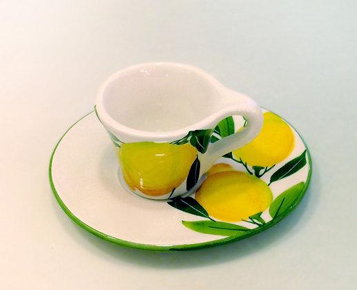 Tazza con piattino ceramica dec. Limoni