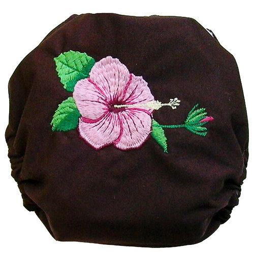 couche brodée hibiscus