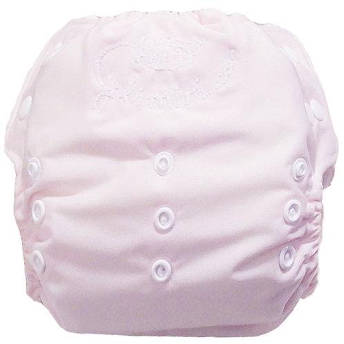couche à poche rose bébé/blanc
